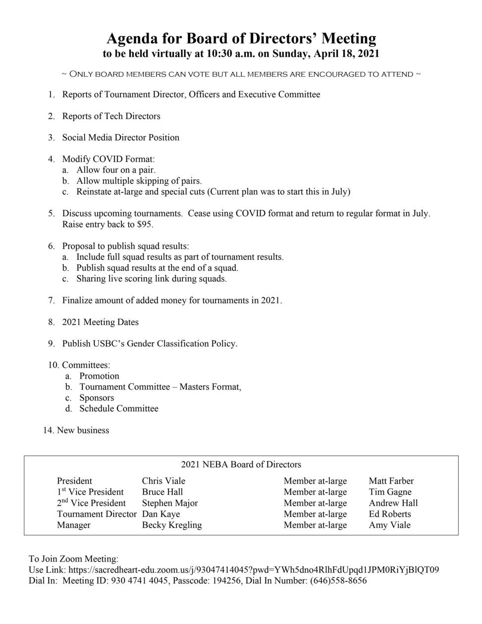 Board Meeting Sunday, April 18