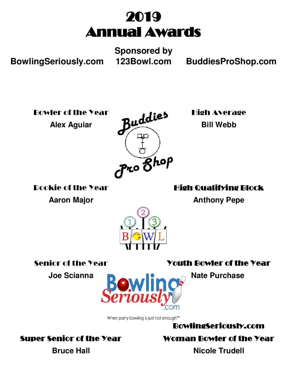 2019 BuddiesProShop.com and BowlingSeriously.com Annual Award Winners